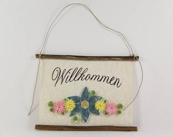 Willkommen, German Welcome, Paper Quilled German Welcome Sign, 3D Quilled Banner, Paper Flower Decor, Blue Yellow Pink Decor, Germany Gift