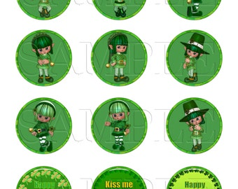 St. Patrick's Day Elves Printable 2 inch Cupcake Toppers or Favor Tags,Digital Download,DIY Printable