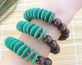 Wooden Disc Beaded stretch stacking Bracelet