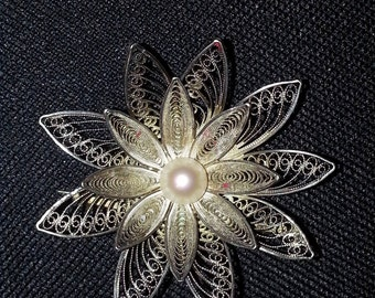 Vintage Portugal Sterling Silver Multi Layer Flower Brooch With Pearl Center