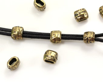 Barrel Crimp Beads, TierraCast, Hammertone Barrel Crimp Beads, 4 x 2 mm, Leather Findings, Antiqued Solid Brass, 10 Or More Pieces, 9127
