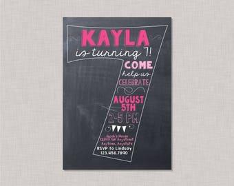 Seventh Birthday Invitation, 7th Birthday Invitation, Girl Birthday Invitation, 7th Birthday, 7th, Number 7, Seventh Birthday, Chalkboard