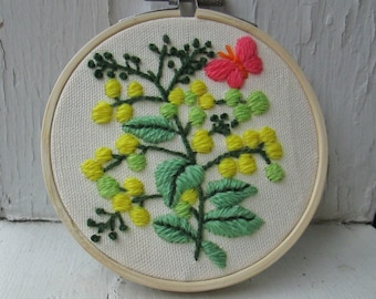 Embroidered Floral Hoop Wall Art - Vintage Crewel Hand Stitched Flower Branch & Butterfly Embroidery Textile / Fiber Arts Mom Gift