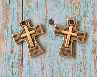 Crosses Tiny GOLD over LIGHT Bronze Hammered  Perfect for Earrings, Jewelry Supplies (2 pieces)