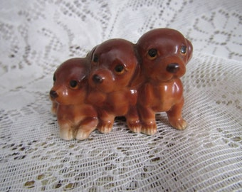 Vintage Red Dachshund Figurine of Three Puppies in a Row