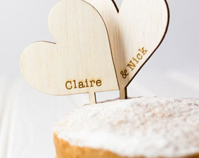 Featured listing image: Wooden Heart Wedding Cake Toppers - Rustic Wedding Cake - Wedding Cake Decoration - Toppers - Vintage Wedding - Rustic Wedding - Hearts