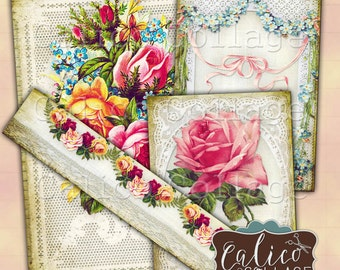 Flowers and Lace, Printable Ephemera, Collage Sheet, Digital Download, Journal Cards, Printable Tags, Junk Journal, Printable Sheets