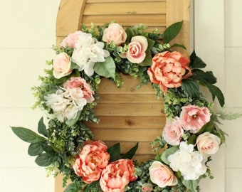 Spring Wreath ~ Summer Wreath ~ Peony Wreath ~ Gift for Mom ~ Wedding Wreath ~ Mother's Day Gift ~ Farmhouse Decor ~ Rustic Decor