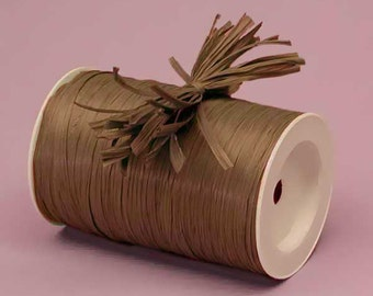 Chocolate Brown Matte Raffia Ribbon - 10 Yards - Many Colors Available