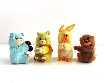 4 Vintage Clip-on Plush Toys, 1980s Pencil Hugger Dolls, Clasp on Toys, Instant Collection, Care Bear Fakies Bunny Rabbit, 80s Toy Lot funny