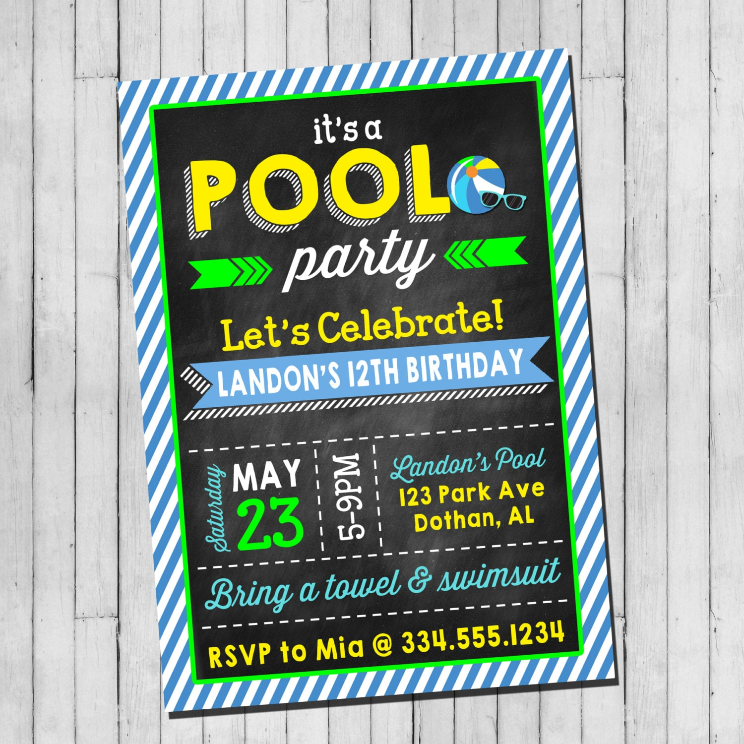 Pool Party Birthday Invitation Boy Teen Pool Party Beach