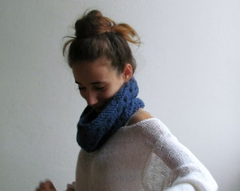 Denim blue scarf /  Alpaca wool / Block color / Winter accessories unisex / winter scarf