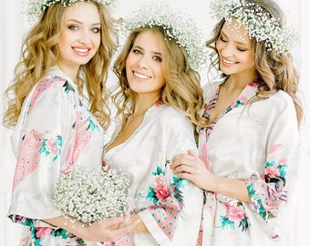 BIG SALE!!! Adult & Kids Floral Satin Bridal Robes - Silk Floral Robe - Dressing Gown - Bridesmaid Robes bachelorette gift