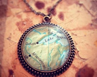 Custom Medium Map Necklace