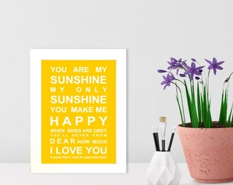 A5 unframed print You are my Sunshine - Nursery Wall Art Print