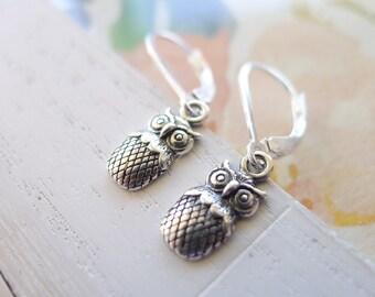 Owl Earrings Sterling Silver Leverback Dangle Earrings Who