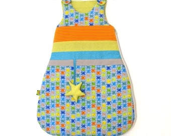 Sleeping bag or sleeping bag frogs and Star Green 0-6 months