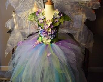 Fairy costume dress, spring woodland flower fairy dress, fairy costume, fairy birthday dress, fairy festival costume, fairy wings,fairy tutu