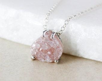 50% OFF SALE - Multi-Color Druzy Pendant Necklace - Choose Your Druzy - 925 Sterling Silver