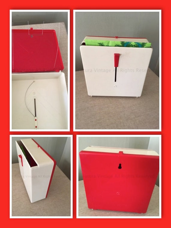 Fun 1950s NAP-UP Dispenser Two Tone Red and Off White Napkin Holder