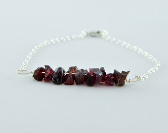 Garnet Bracelet, January Birthstone, Sterling Silver Bracelet, Gemstone Bracelet, Gift For her, Raw Garnet, Bridesmaid Jewelry, Red Bracelet