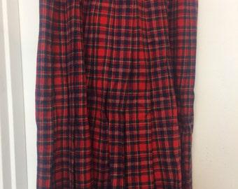 Women's Size 12 Pendelton Red Plaid Wool Skirt