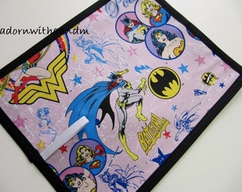 Chalkimamy TRAVEL chalkboard mat made with trademarked DC comics supergirl fabric