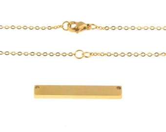 10 Pack Gold Plated Stainless Steel Bar Necklace Components, Name Plate Necklaces, Stamp Blanks, Stamping Wholesale Jewelry SBB0076