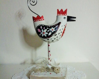 Folkart hen,folkart chicken,folklore hen,primitive hen,primitive chicken,Easter gift,hen,chicken,chicken ornament,hen photo holder,folk art