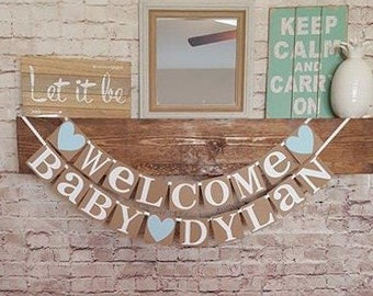 Welcome Baby Boy Banner- Custom Name Banner- Baby Boy Banner- New Baby Banner- It's a Boy Banner- New Baby Sign -Welcome Baby Sign