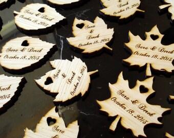 85 Wood Leaf Wedding Favors Personalized Custom Leaves