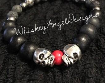 Mens Skull Essential Oil Bracelet