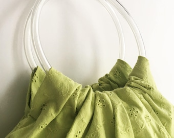 Lime Eyelet Lace Hobo Handbag - Handmade Embroidered Eyelet Purse with Clear Vinyl Tubing Handles