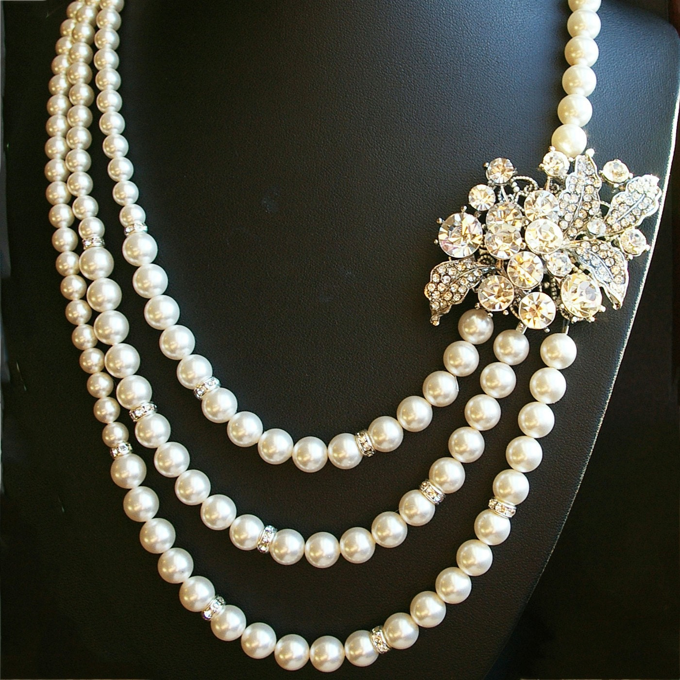 Pearl Necklace Styles: Statement Pearl Bridal Necklace Art Deco Style Rhinestone
