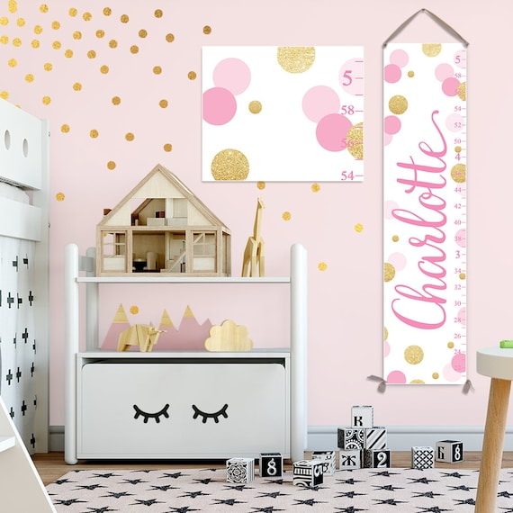 Pink and Gold Dots Growth Chart - GC2043P