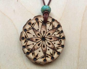 Flower burst handmade pyrography mandala necklace