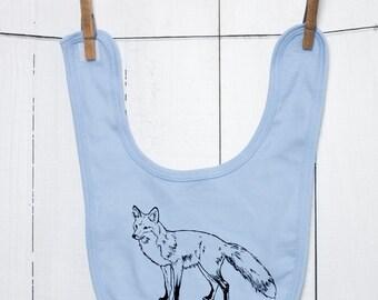 Fox Baby Bib Organic Cotton Animal Rights Vegan Screen Printed with Nontoxic Waterbased Ink on Natural, Green, Pink, or Blue Infant Bib