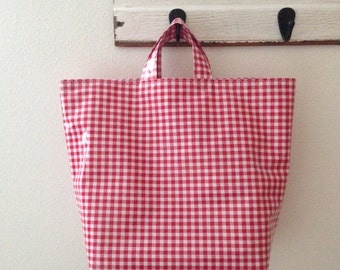 Beth's Oilcloth Gingham Grocery Tote Market Bag