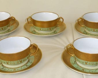Antique H and C Selb Bavaria Heinrich  and Co Gold Gilded Double Handled Cream Cups and Saucers