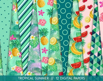 Tropical Summer Patterns // 12 Tropical Digital Papers with Flowers, Leafs and Fruits // Vibrant Exotic Backgrounds // Commercial Use