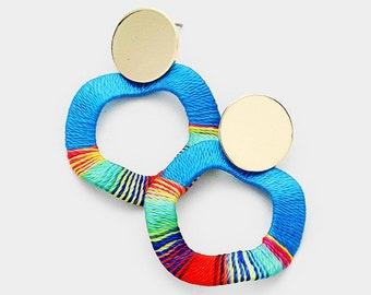 Metal Disc Thread Wrapped Wavy Hoop Earrings