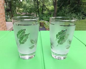 Vintage Libbey Frosted Silver Leaf/Foilage Glasses Pair