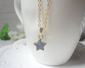 blue star Druzy Necklace, Winter Jewelry, Gift for Her, Raw Crystal Necklace 831