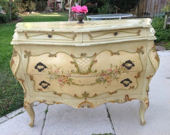 THIS is the BOMBE Chest / Venetian Chest Carved Wood /Rococo  Baroque Chest of drawers /  Shabby Chic at Retro Daisy Girl