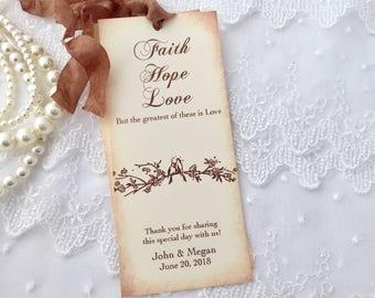 Wedding Favors, Wedding Bookmark Favors, Bookmark Favors, Set of 10 Bird Bookmarks Faith Hope Favors Rustic