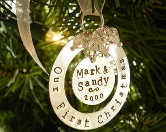 Our First Christmas hand stamped and personalized sterling silver ornament