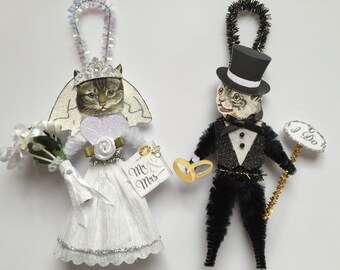 Grey Tabby Kitty Cat BRIDE & GROOM ornaments Wedding Cat ornaments vintage style chenille ORNAMENTS set of 2