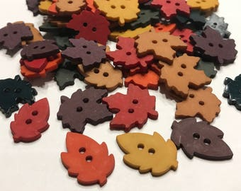 10 assorted colorful flat leave buttons, 20 mm (17)