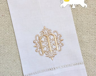 Damask Monogram Linen Tea Towel