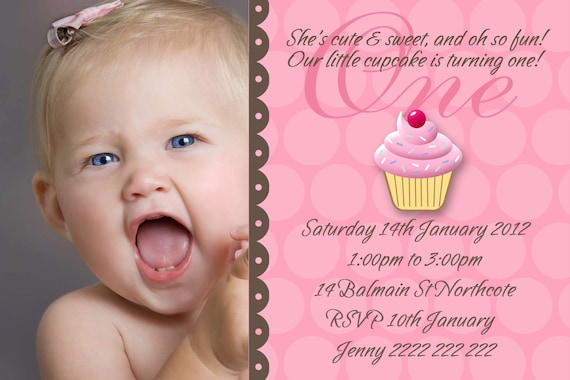 Personalised cupcake 1st Birthday Baby Girl Invitation DIY